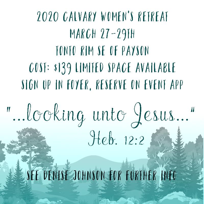 2020  Calvary Women's Retreat Tonto Rim